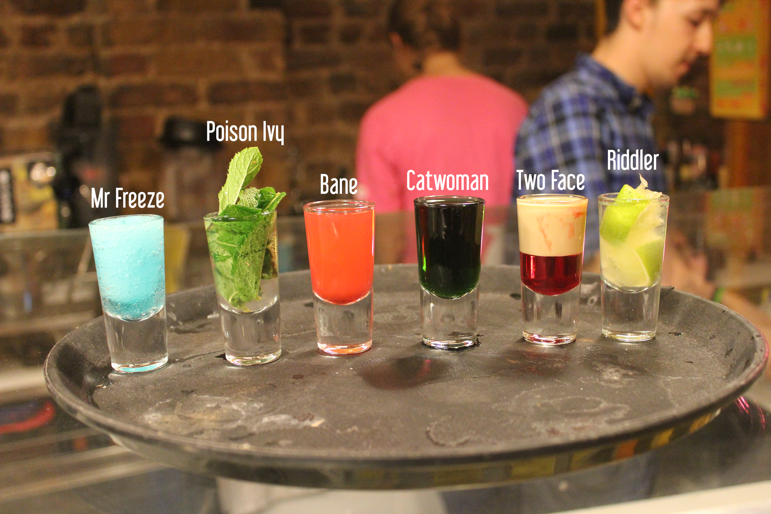 """A selection of BatCocktails were available through the night, with each one named after a member of the Rogues Gallery. Screaming """"I'm the GODDAMN BATMAN!"""" As you downed them was optional, but advised."""