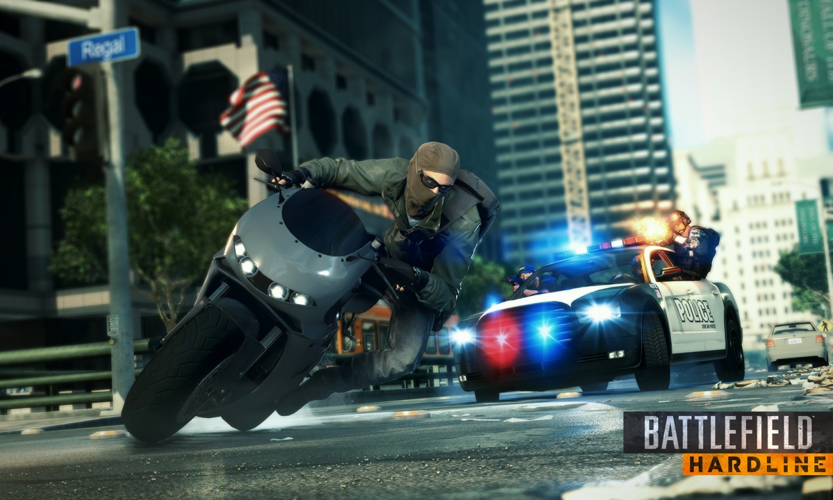 Press screenshots for Hardline promise EXCITING BIKE CHASES. In-game, it's a different story.